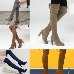 NemaOne Женщины растягивающиеся из искусственной замки бедра высокие сапоги сексуальные моды на коленные сапоги высокие каблуки женские туфли черный серый