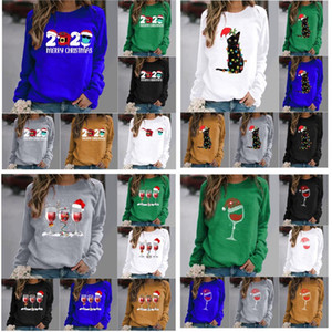 3XL Women Christmas T-shirt Long-sleeved T Shirts For Elk Deer Merry Christmas Cat Printed T Shirts Top Coat Blouse Party Supplies HH9-3641