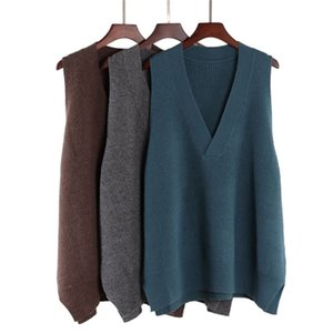 Bygouby Femmes Vest Oversize V Couleur Pull Pull Sweater Medium Long Tricoté Top Y201128