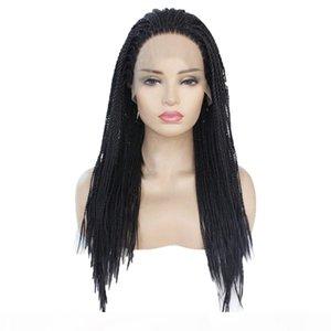 Natural Preto Cornrow Tranças Sintéticas Rendas Peruca Peruca Resistente ao Calor Fibra Half Half Half Halt Halt Wigs for Women