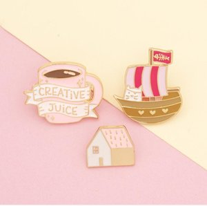 New Arrival Juice Cup Pirate Ship Cat Letter Brooch Cup English Letter Pink Series Pin
