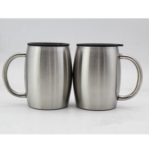Stainless Steel Mugs lid 14oz Double Walled Insulated Coffee Beer Tea Mug Tumbler With Handle Tool DHB644