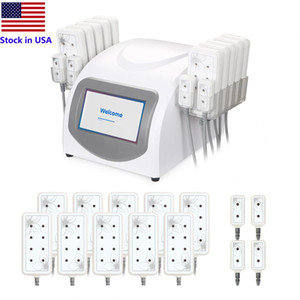 Stock in US Professional Lipo Laser Slimming Machines 5mw 635nm-650nm Lipo Laser 14Pads Cellulite Removal Beauty Body Shaping Free shipping