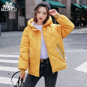 GRELLER 2020 New Autumn Parkas Hooded Thick Down Cotton Padded Female Jacket Short Winter Coat Women Outwear Q1119