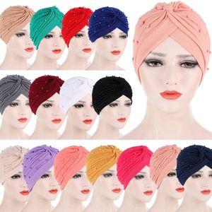 Indian Turban Beads Chemo Cap Muslim Women Hijab Inner Scarf Cancer Hat Pleated Beanie Bonnet Underscarf Headwear Wrap Islamic