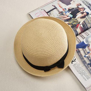 Cokk Panama Hat Simple Summer Beach Hat Female Casual Lady Women Flat Brim Bowknot Straw Cap Girls Sun Hat Chapeu Feminino Swy sqcWao