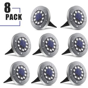 Solar Ground Lights, 8-Pack Outdoor Solar Disk Lights 10 Led Waterproof Light-Controlled Lamp for Patio Pathway Landscape Garden Yard Drivew
