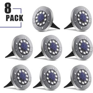 Güneş Zemin Işıkları, 8-pack Açık Güneş Disk Işıkları 10 LED Su Geçirmez Işık Kontrollü Lamba Veranda Yolu Peyzaj Bahçe Yard Drivew