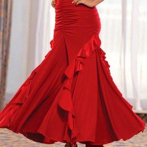 Womens Girls Red Black Purple Performance Ballroom Dance Skirt Ladies Women Standard Flamenco Dancing Clothes Long Skirts