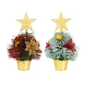 2 pcs Festive Decorations Lovely Plastic Mini Christmas Tree Desktop Adornment Ornament Party Supplies Shop Home
