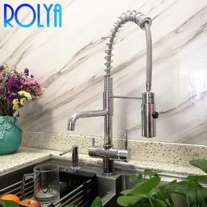 Rolya Novo Comercial Tri Fluxe Torneira De Cozinha Com Misturador De Mangueira De Primavera Misturador Profissional 3 Way Water Filter Tap