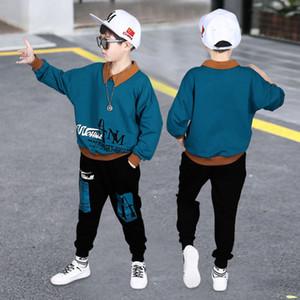 Boys Sweatshirts 2020 New Boy Clothes Suit Long sleeve Letter Top + pants 2 Piece Set Children's Clothes Gentleman Casual Boys Y1117
