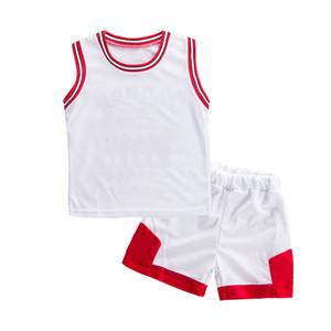 2021 2-7 Jahre Junge und Mädchen Sommeranzug Baby Basketball Fußball Sleeveless Weste Shorts Zwei Teiler Leistung Anzug Atmungsaktive Schweiß
