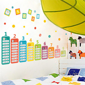 Cartoon Children 99 Multiplication Table Math Toy Wall Stickers For Kids Rooms Baby learn Educational montessori mural decals Y1120