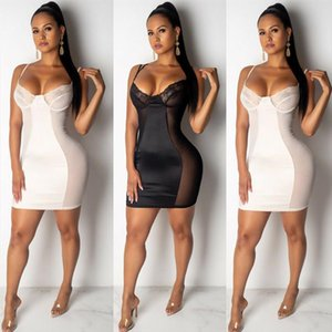 Women Bandage Bodycon Deep V neck Dress Summer Strappy Lace Mesh Patchwork Dresses Women Wrap Slim Party Club Dress Vestidos