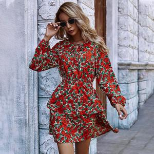 Spring 2021 new women's high waist red casual A-line skirt print dress women's long sleeve