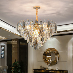 Newest design crystal chandelier lighting for living room bedroom foyer creative  smoky chandeliers lamps contemporary pendant lights