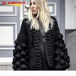 Cashmere Sweater Women Winter 2019 Black Ladies Cardigan Hand Knitted Cardigan Women Long Sleeve Thick Warm Cardigan Female TopsMX190820