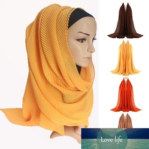 3Pcs Women Muslim Hijab Head Scarf Plain Solid Color Pleated Crinkled Shawl Wrap X7YA