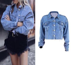 Осень Streetwear Boyfriend Стиль Обрезанные Blue Jeans куртка женщин джинсовой куртки с длинными рукавами Короткие Womens Куртки, ветровки 2020