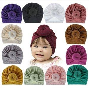 Baby Indien Hüte Mädchen Donut Schädelkappe Massive Baumwolle Hut Ins Knoten Turban Infant Beanie Kopf Wraps Stirnband Kopfbedeckung Infant Headwears GWE3674