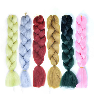 2020 Braiding Hair 100g PC Bulk Soft Synthetic 24 Inch Kanekalon Jumbo Braid Hair Extension Mixed Color Pink Blue Blonde Free Shipping