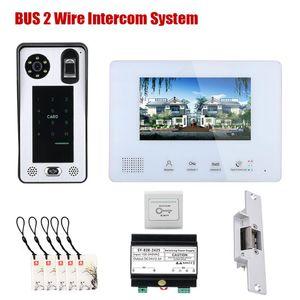 Systèmes d'interphone d'interphone de téléphone vidéo à 2 fils de bus de 7 pouces 2 fils 1 Doorbell-1/2 caméra pour une serrure de porte électronique à la maison