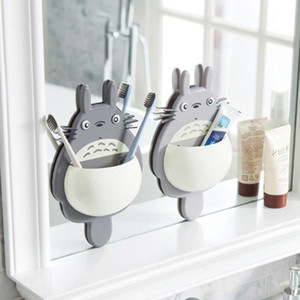 Cute Sucker Cartoon Totoro Wall Mount Hanging Suction Toothbrush Holder Storage Box Bathroom Supplies DHD2727