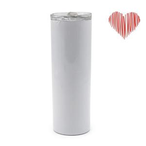 Su Bardakları 20 oz Süblimasyon Düz Sıska Tumbler Boş Paslanmaz Çelik Malzeme Plastik Saman Kapak Kupalar Sıcak Tutun Taşınabilir Parti Hediye N2