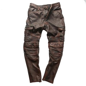 14oz Colorful Rock Can Roll Genuine Cow Leather Motorcycle Rider Pants Vintage Stylish Cowhide Trousers 4 Colours
