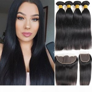 10A Natural Black Brazilian Virgin Hair Straight 4 Bundles with Lace Closure Brazilian Human Hair Bundles with Frontal