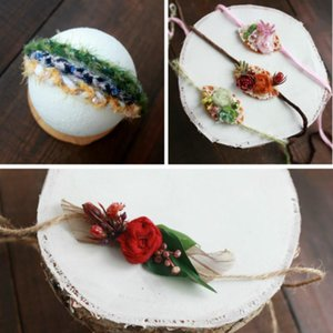 Newborn Photography Prop Weaving Baby Headband Infantil Photo Hairband Floral Headwear Baby Shoot Accessories Retro Headdress
