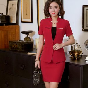 2020 Summer Women Professional Skirt Suits Slim Style Suit Two Pieces Lady Office Suits Half Sleeve Blazers And Skirts