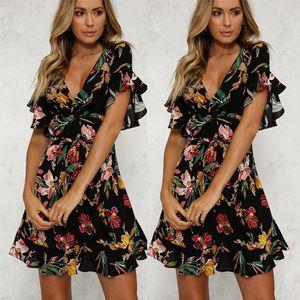 Womens Summer Dresses Boho Floral Printed Beach Dress Lady Flowers Flare Sleeve V Neck Sundress High Waist Bow Belt Swing Dress