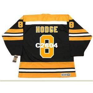 Mens # 8 ken Hodge Boston Bruins 1974 ccm vintage retrò hockey jersey o personalizzato qualsiasi nome o numero retrò jersey
