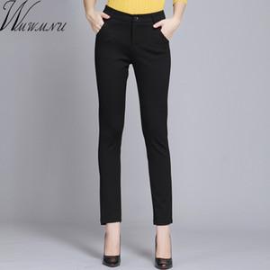 WMWMNU Femmes Pantalons Travailler Port Personal Spring Black Crayon Pantalon Plus Taille Femelle Pantalon Slim Pantalones élastiques Mujer Lj201130