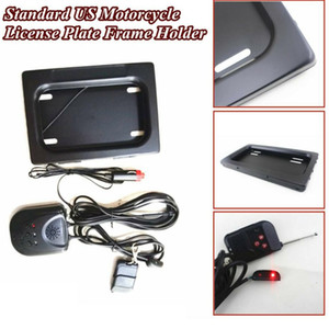 US Motorcycle Hidden License Stealth Plate Frame Bracket Shutter Shift Turn Blinds with Remote