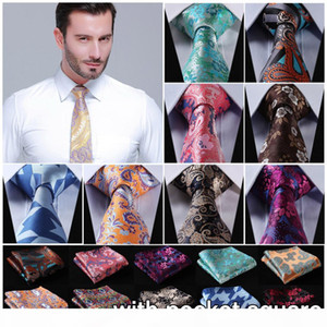 2016 Hot Sale Floral Fashion Wedding Neckties Set Business Paisley Ties for Formal Occasion British Pocket Square Necktie Sets