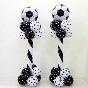 1 коммутация 18 дюйма алюминиевая фольга футбольный шар столбец черный белый латекс воздушный шар футбол тема вечеринка мальчика день рождения декор