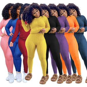 Plus Size Womens 2pcs Tracksuits Solid Color Yoga Fitness Sports Women Suits Clothes Long Sleeve Hoodies Slim Sexy Ladies Sweatpants