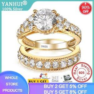 С сертификатом 100% оригинальные 925 сплошные серебряные кольца для женщин 2.0CT Натуральный цирконий Чистые золотые обручальные кольца для невесты 20100
