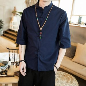 New Summer Chinese style home retro disc button cotton linen mid-sleeve shirt half sleeve shirt men's wear clothes dropshipping