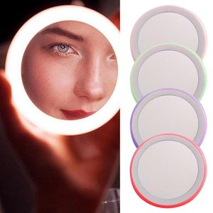 Mini Luminous Makeup Mirror Portable Cute Led Hd Smart Roud Makeup Mirror Box With Light For Women Outdoor Wear Makeup Tools