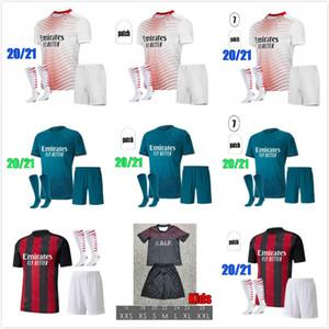 2020 AC Mailand Ibrahimovic Fussball Jersey Erwachsene Kit 120th Jahrestag Edition Paqueta Romagnoli Piatek Football Hemden Camisa AC Mailand 20/21