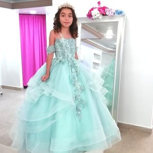 Cheap Lace Beaded Vintage Flower Girl Dresses Ball Gown Tiers Little Girl Pageant Dresses Kids Formal Communion Gowns