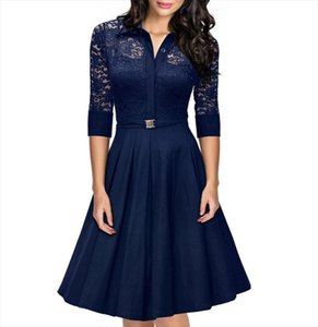 Womens Fashion Sexy Irregular Hem 3 4 Lace Sleeve Polyster Casual Cocktail Party Office Dress 2019 Women Dress Female