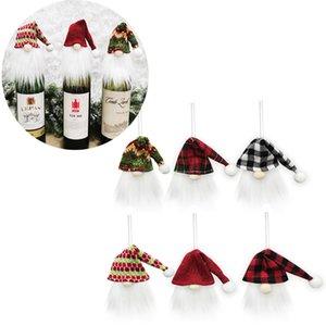 Noel GNOME Şarap Şişesi Kapak Toppers Santa Şapka Noel Ağacı Asılı Dekor Festivali Parti Dekorasyon JK2011PH