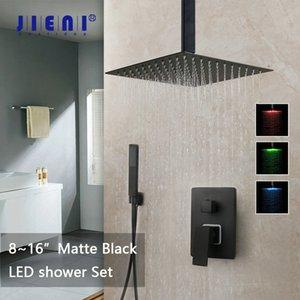 Jieni 8 12 16 Zoll Schwarz Badezimmer Dusche Wasserhahn Set Deckenhalterung Schwarz LED Duschkopf Mischer Tap W / Rainfall Dusche Wasserhaare Set LJ201211