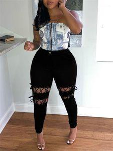 State Style Womens Designer Plus Size Calças Hole Designer Skiinny Calças Hiphop Bandage Ladies Jean Calças