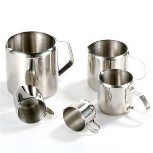 Edelstahl-Tasse Milch Mini-scharfer Mund-Becher Ziehen Blume, die Pitcher-Krug-Kaffee-Shop verschiedene Größen 9 3JR K2
